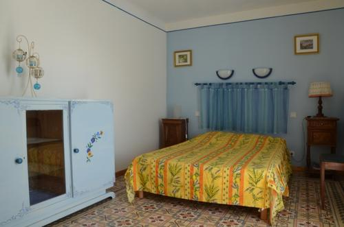 Blue bedroom double bed...