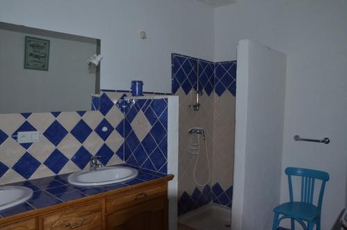 Blue shower room...