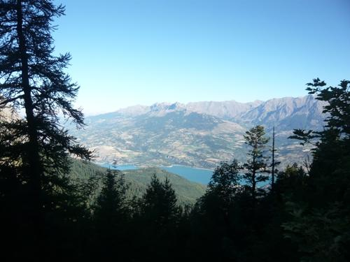 Lake Serre-Ponçon seen from the top of the Grand Morgon mountain......